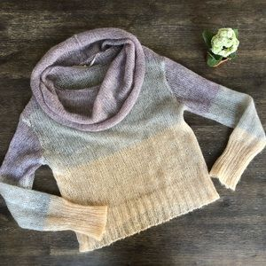 Anthropologie cowl neck color block sweater